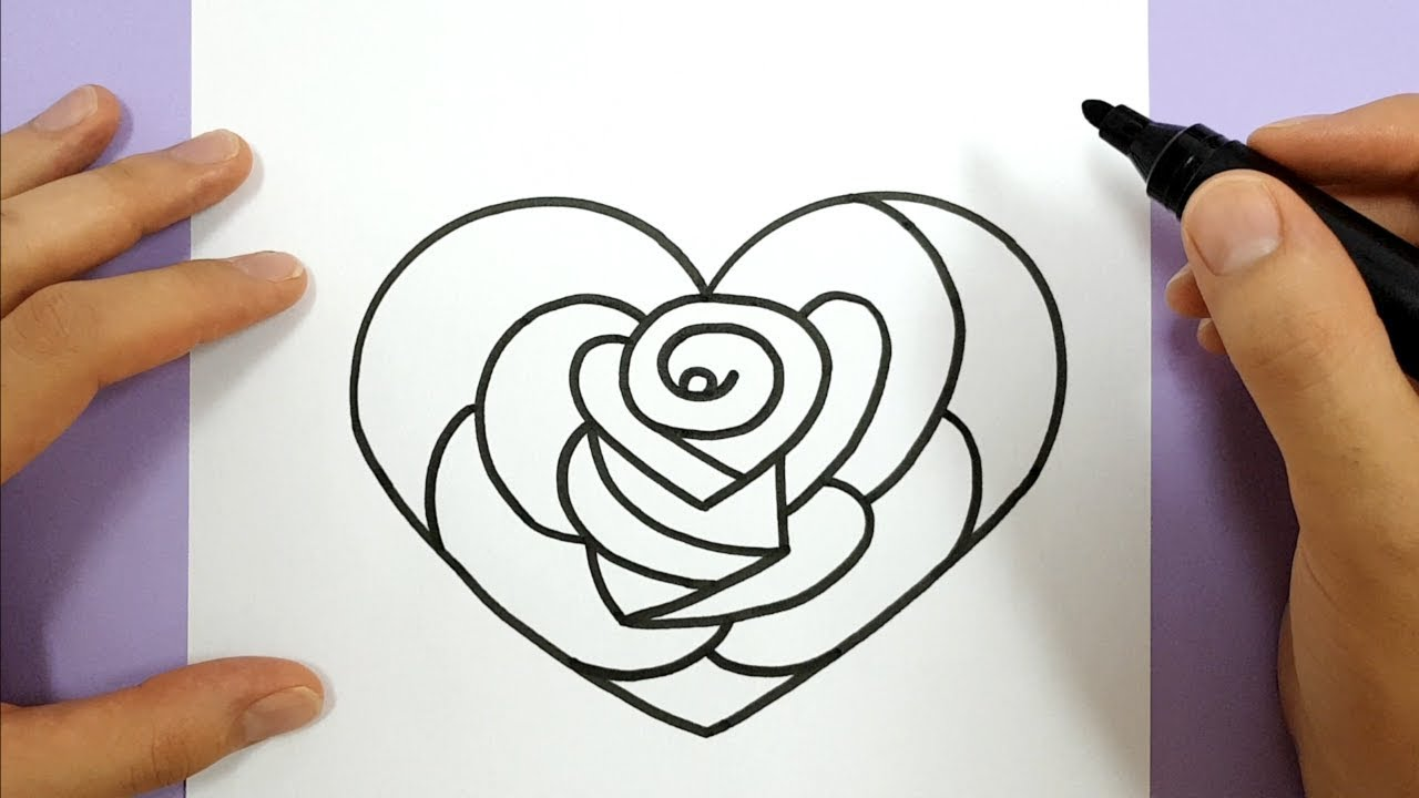 HOW TO DRAW A ROSE IN A LOVE HEART STEP BY STEP - YouTube