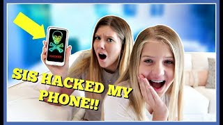 SIS HACKED MY iPHONE    PRANK WARS    Taylor and Vanessa