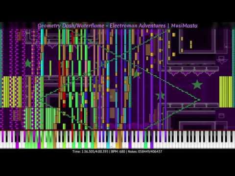 [Black MIDI] Geometry Dash/Waterflame - Electroman Adventures | MusiMasta | 406K Notes