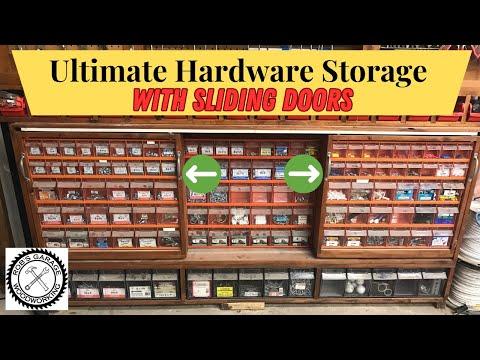Hardware & Parts Storage Cabinet With Sliding Doors - Workshop Organization Ideas