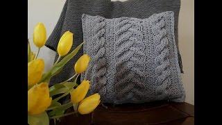 Jak zrobić poduszkę ze sznurka bawełnianego na drutach.  How to knit Pillow. Вяжем спицами.