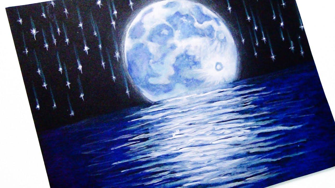 Como Dibujar El Cielo La Luna Y Las Estrellas Tutorial De Dibujo