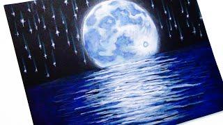 Como Dibujar el cielo, la luna y las estrellas tutorial de Dibujo