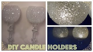 DIY - Frosted Candle Holders Elegant Candle Holders - Dollar Tree/ Michaels/Goodwill