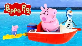 Peppa Pig Splash Speedboat Episode - Holiday Peppapig Toy Competition With Disney Frozen Olaf