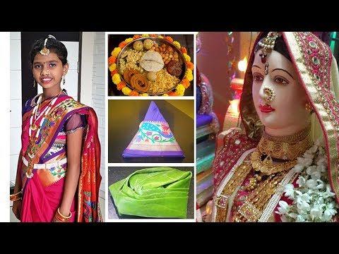 गौराईला साडी कशी नेसवावी  | Gauri Saree Draping | Easy Steps to drape Saree | MadhurasRecipe