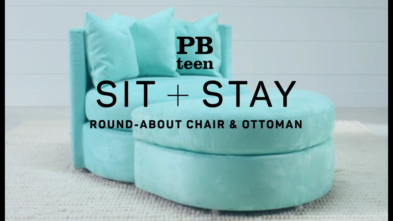 Sit + Stay   Round   About Chair U0026 Ottoman | PBteen