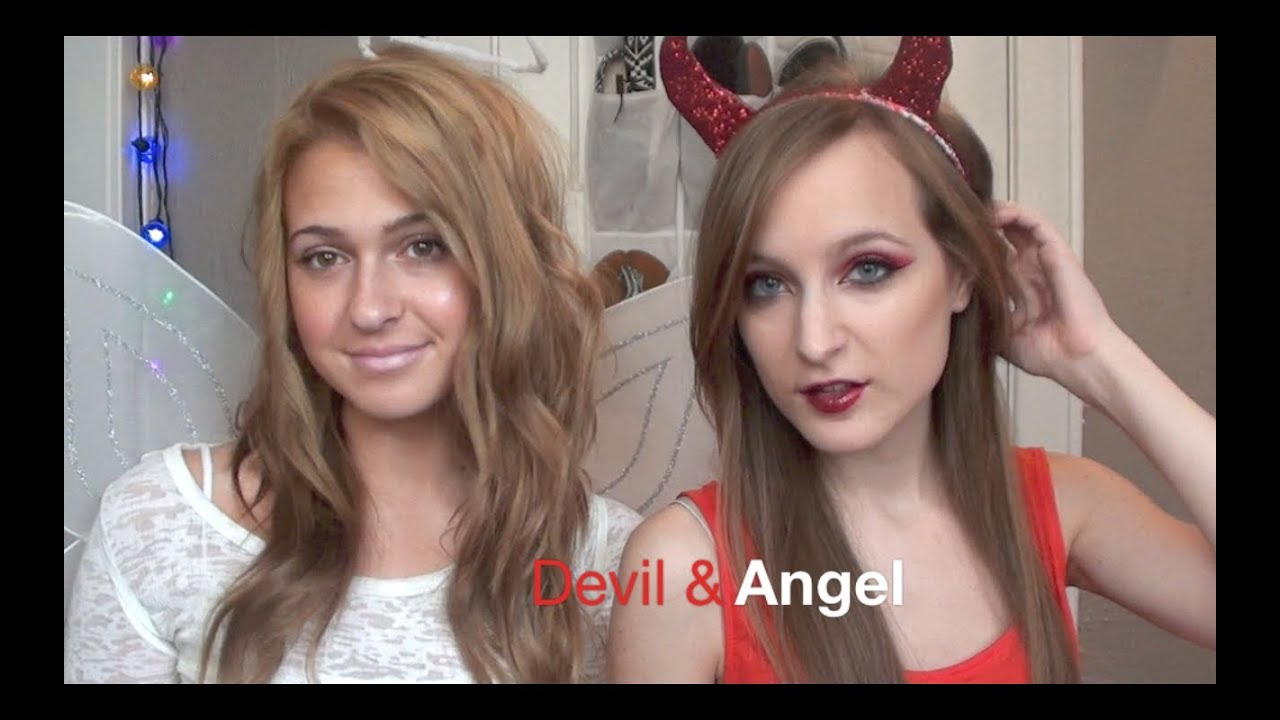 Devil and angel makeup diy horns and halo youtube solutioingenieria Images