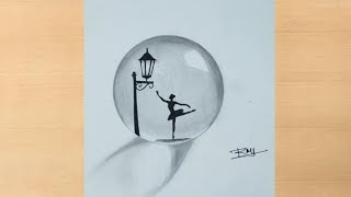 Download lagu Pencil drawing of A Dancing Girl inside a crystal ball/circle step by step