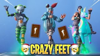 *NEW* Fortnite Crazy Feet Emote With Popular & Leaked Skins..!