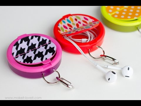 How to make an EARPHONE HOLDER from a mint container