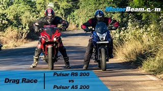 pulsar rs 200 vs pulsar as 200 drag race   motorbeam