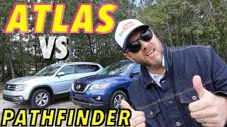New 2018 VW ATLAS SE vs 2017 NISSAN PATHFINDER SL | Comparison Review | Plus 3rd Row Seating Test