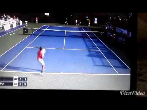 Amazing point from somdev !! Opponent throws his rocket to appreciate  his shot making !!