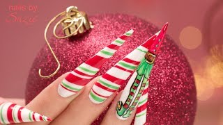 Christmas Elf Stiletto Gel Nails