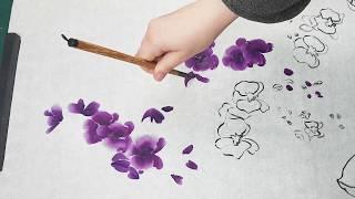 Как нарисовать Контурную Орхидею видео урок How to draw Contour Orchid Painting tutorial 난초 그림 그리기