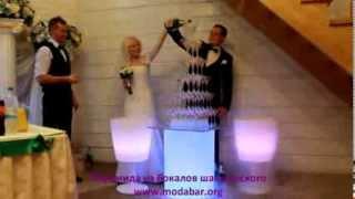 Пирамида из бокалов шампанского на свадьбу, юбилей, торжество от Bar Catering