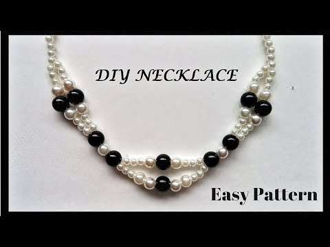 Pearl necklace tutorial.Elegant beaded necklace. Easy jewelry pattern