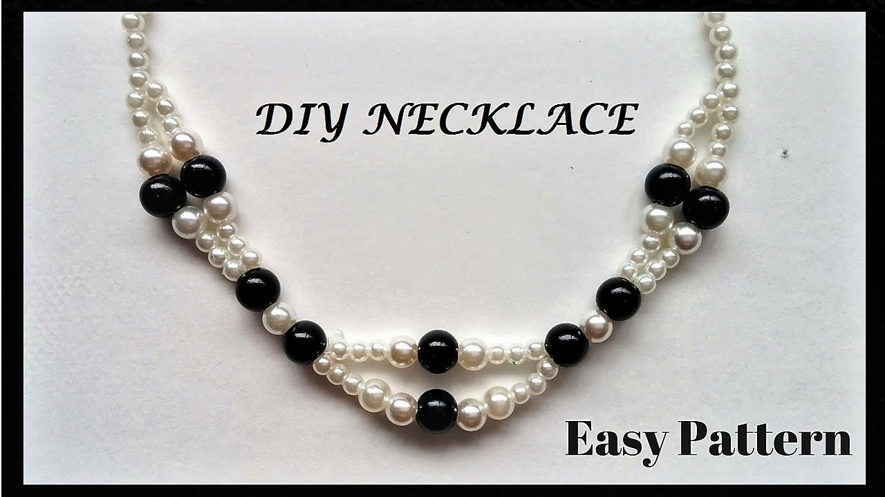 Pearl necklace tutorial.Elegant beaded necklace. Easy jewelry ...