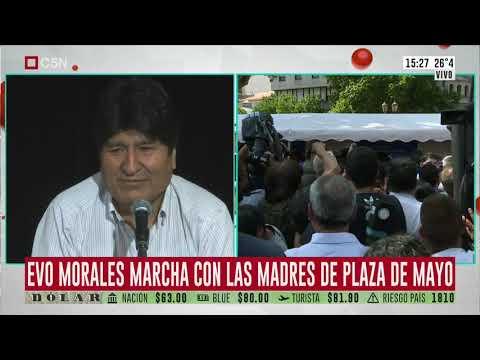 Evo Morales marchó con las Madres de Plaza de Mayo