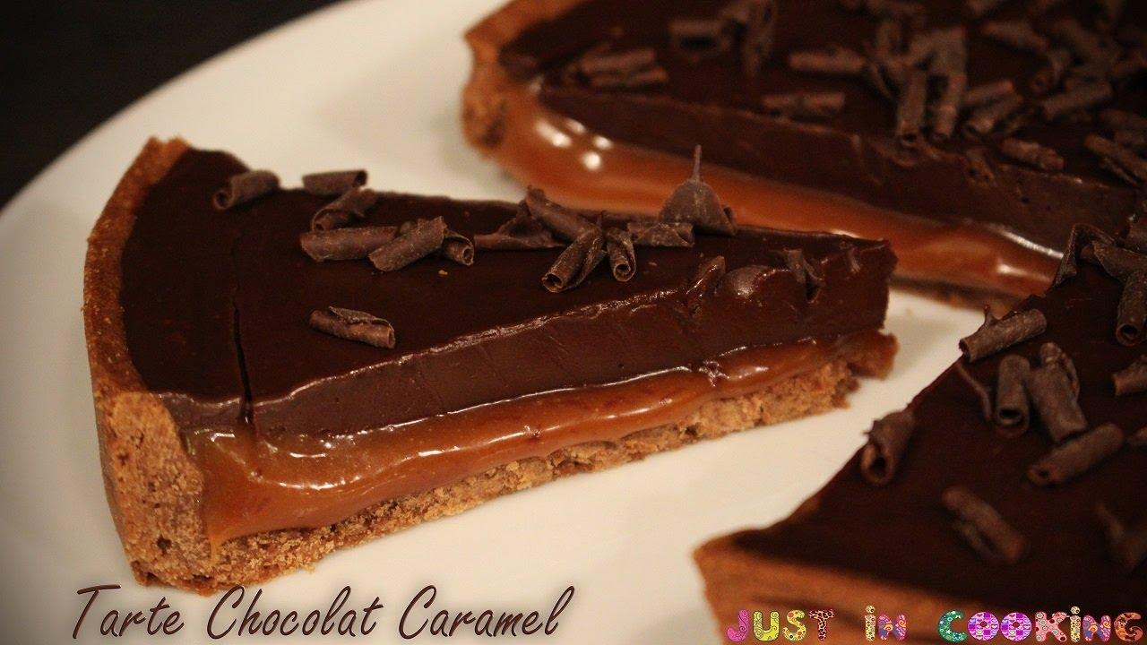 Recette de tarte chocolat caramel au beurre sal youtube - Comment decorer une tarte au chocolat ...