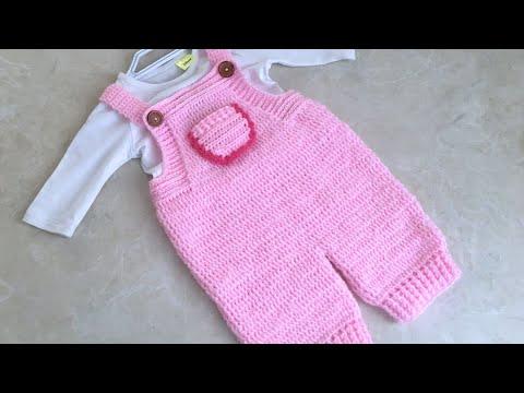 Örgüsü Çok Farklı ve Kolay Tığ işi Bebek Tulumu/Salopet Bebek Tulum/3 ay için