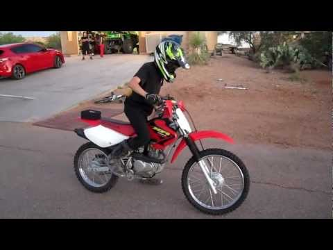 Joel's first drive on our Honda CRF 100