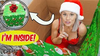 WRAPPING MYSELF in a CHRISTMAS PRESENT and HIDING from my BOYFRIEND!!