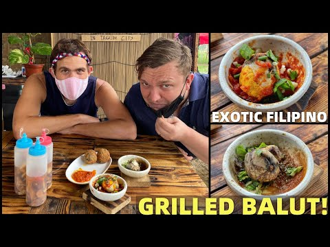 TAGUM CITY FILIPINO FOOD TRIP - Brit and Canadian Eating Philippines EXOTIC GRILLED BALUT!