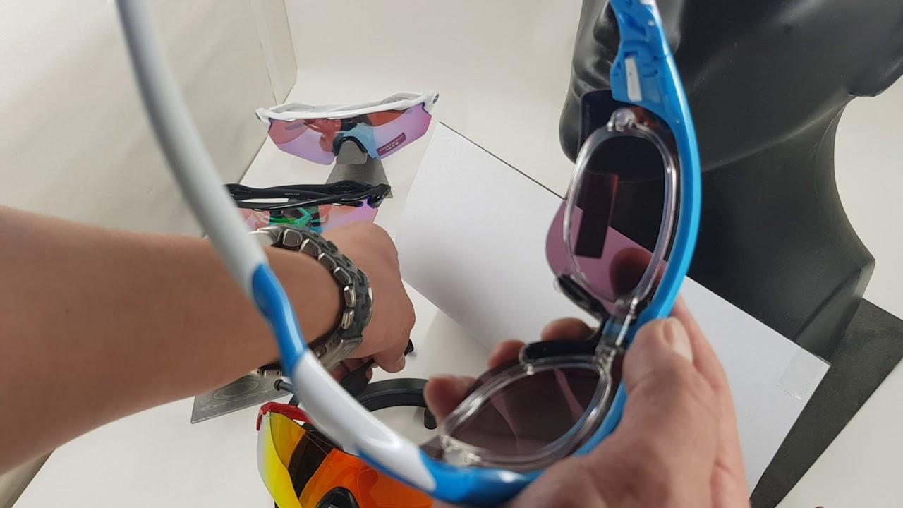 02bfe84bacb Oakley Prescription clip for RadarLock sports sunglasses - YouTube