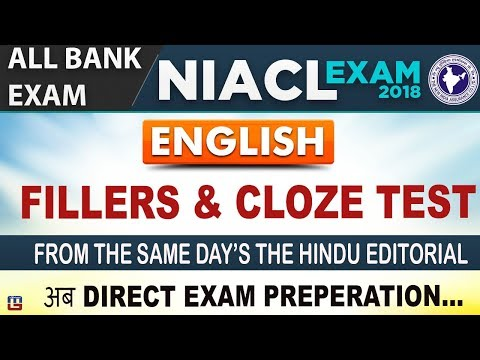 Fillers & Cloze Test | All Bank Exam/NIACL Exam 2018 | English | Live at 8 PM