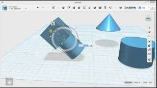 123D Design Tutorial - Basics 3/6 - Grouping, Combining, & Subtracting Solids