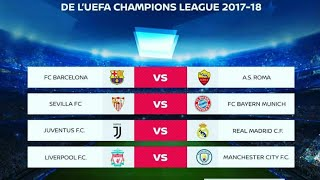 UEFA CHAMPIONS LEAGUE Quarter final  fixtures March,2018