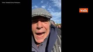 Enrico Montesano alla protesta dei portuali di Trieste
