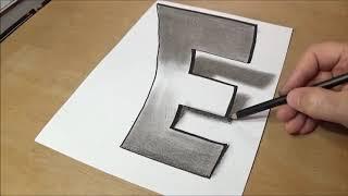 How to Draw 3D Letter E | A To Z 3D Letters | EP # 5 | I MADE IT