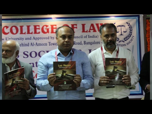 AL AMEEN COLLEGE OF LAW RELEASE OF AL AMEEN NEWS LETTER