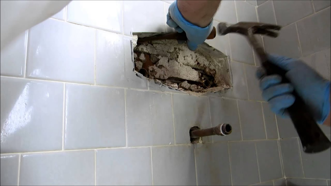 tub and shower valve replaced in tile wall - YouTube