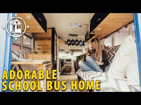 School Bus Converted into Shabby Chic Home on Wheels