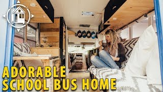 School Bus Converted into Shabby Chic Home on Wheels thumbnail