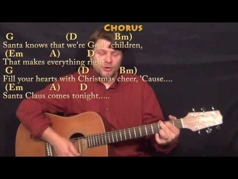 Here Comes Santa Claus (Elvis) Guitar Cover Lesson in D with Chords/Lyrics