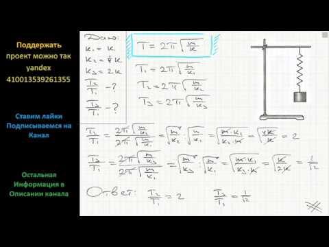 Как изменится период колебания груза на пружине если две пружины