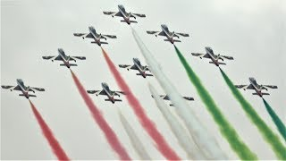 The italian national aerobatic team, frecce tricolori, perform on final day of royal international air tattoo 2019 with their ten mb-339s.video by ad...