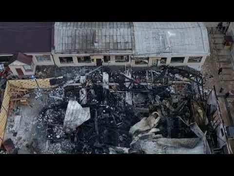 Последствия пожара в Пятигорске на верхнем рынке с высоты. Это просто жесть!