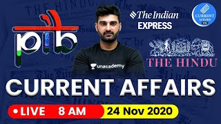 Daily Current Affairs in Hindi by Sumit Sir   24 November 2020 The Hindu PIB for IAS