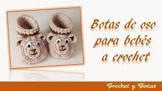 Botas 3D de oso para bebés de todas las edades tejidas a crochet (ganchillo) -  Parte 1