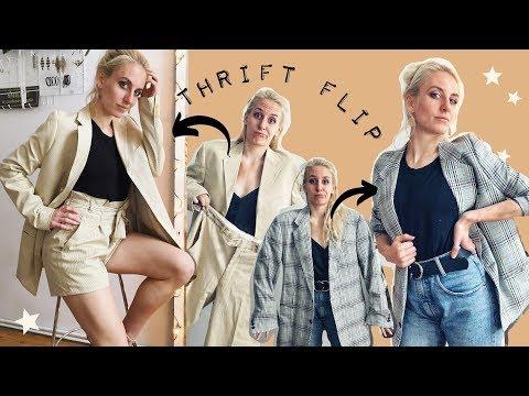 THRIFT FLIP #7: Männeranzug zu Damen Long-Blazer umnähen (inkl. Paperbag Waist Shorts)
