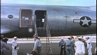 US Secretary of Navy James Forrestal arrives by a C-54 aircraft in Honolulu, Hawa...HD Stock Footage