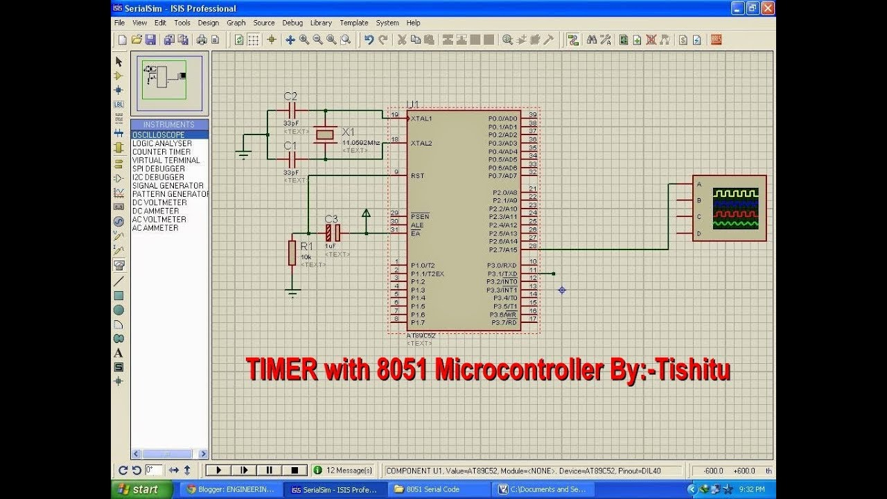 Tishitu Microcontroller 8051 Tutorial For Timer Interrupt Led Frequency And Pulse Width Measurement Using At89c51 Blinking In Keil Compiler