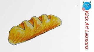Food Drawings :how to draw a french bread loaf easily in oil pastel step by step