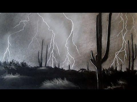 Cómo dibujar una tomenta eléctrica de noche en el desierto, cómo dibujar un paisaje al carboncillo